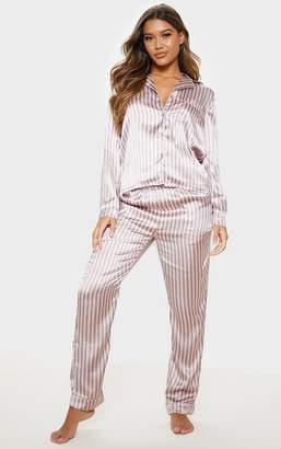 PrettyLittleThing Pink And Grey Stripe Long Satin Pyjama Set
