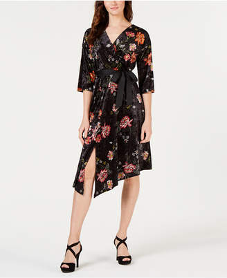 NY Collection Petite Floral-Print Velvet Asymmetrical Dress