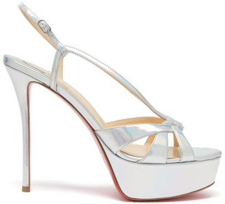 Christian Louboutin Veracite 130 Leather Sandals - Womens - Silver