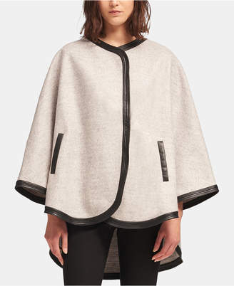 DKNY Poncho Cape With Faux-Leather Trim
