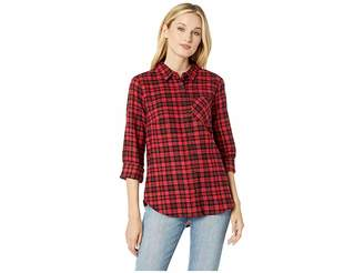 ALEXANDER JORDAN Long Sleeve One-Pocket High-Low Flannel Plaid Shirt Women's Clothing