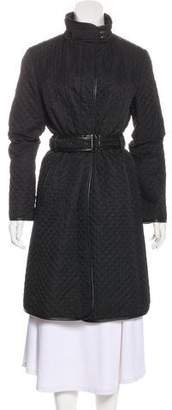 Burberry Leather-Trimmed Knee-Length Coat