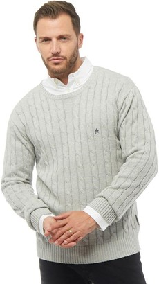 French Connection Mens Cable Knit Crew Neck Jumper Grey Melange