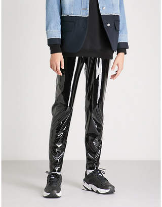 MSGM High-rise skinny vinyl PVC leggings