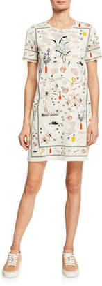 Tory Burch Printed Crewneck Short-Sleeve T-Shirt Dress