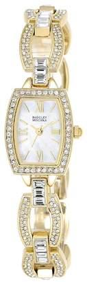 Badgley Mischka Women's Swarovski Crystal Accented Analog Chain Link Bracelet Watch, 18mm