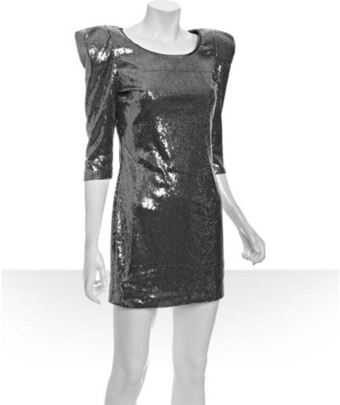 ABS by Allen Schwartz pewter sequin padded shoulder mini dress