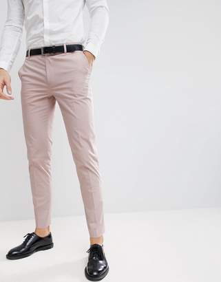 Asos DESIGN Wedding Skinny Suit Pants In Putty Stretch Cotton