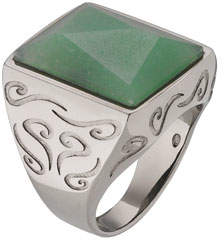ara Marco Dal Maso Men's Pyramid Ring with Green Aventurine, Size 10