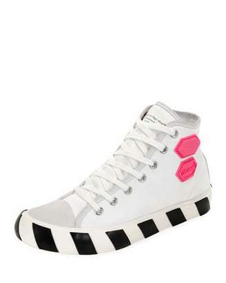 Off-White Men's Vulcanized High-Top Sneakers with Rubber Patches