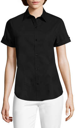Liz Claiborne Button Front Short Sleeve Shirt - Tall