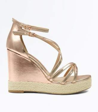 New Look Rose Gold Strappy Platform Espadrille Wedges