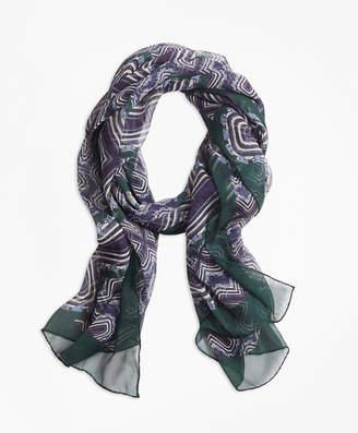 Brooks Brothers Geometric-Print Silk Chiffon Oblong Scarf