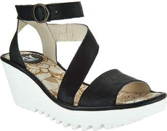 Fly London Leather Ankle Strap Wedges - Yesk 2
