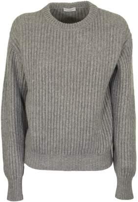 Brunello Cucinelli Cashmere Crew Neck Sweater In English Ribbed Grey