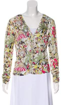 John Galliano Printed Long Sleeve Cardigan