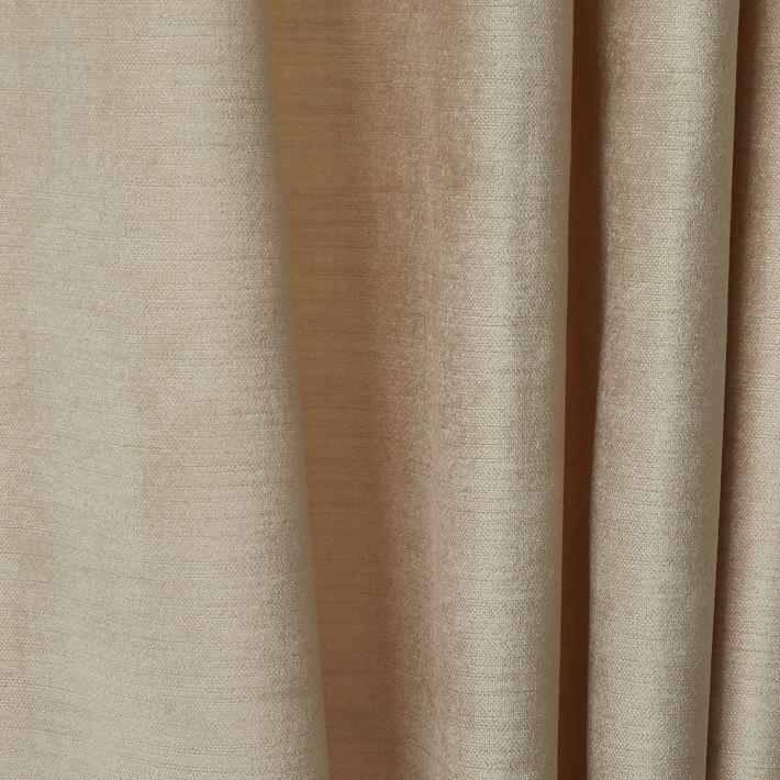 west elm Cotton Luster Velvet Curtain - Stone
