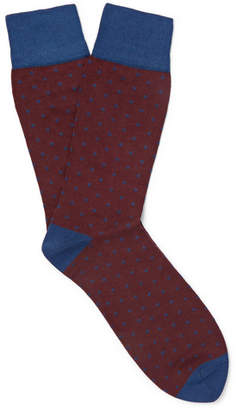 Corgi Kingsman Polka-Dot Cotton-Blend Socks