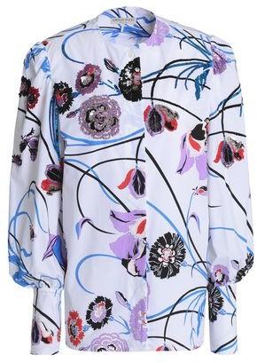Emilio Pucci Embellished Floral-Print Stretch-Cotton Poplin Shirt