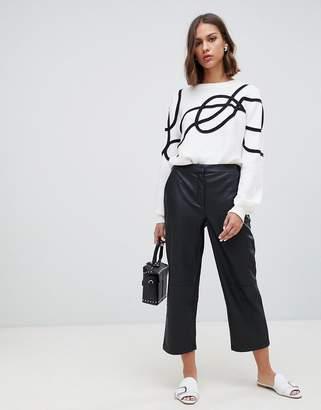 Minimum faux leather straight leg trousers