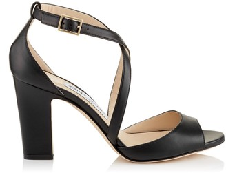 Jimmy Choo CARRIE 85 Black Nappa Leather Peep Toe Sandals