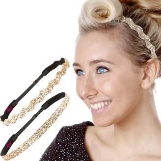 Hipsy 2pk Women's Adjustable NO SLIP Headband Golden Rod