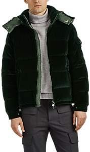 Moncler Men's Down-Quilted Velvet Puffer Jacket - Dk. Green