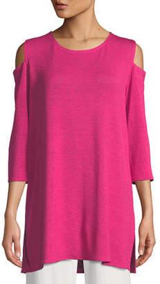 Caroline Rose Gauze Knit Cold-Shoulder Tunic, Plus Size