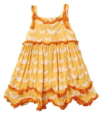 Kickee Pants Print Ruffle Dress Romper in Fuzzy Bee Ducks (Baby Girls)