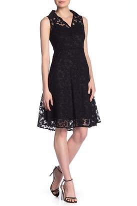 Nanette Lepore NANETTE Floral Lace Sleeveless Shirt Dress