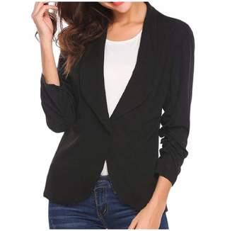 Zimase Womens 3/4 Length Solid Lapel Suit Coat Jacket Blazer Outwear M