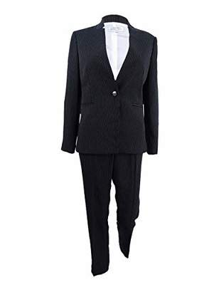 Tahari by Arthur S. Levine Women's Petite Pinstripe Long Sleeve Pant Suit