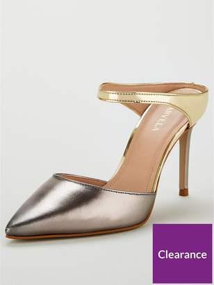 Carvela Agnes Leather Heeled Mules - Gunmetal Silver/Gold