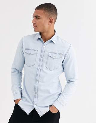 Jack and Jones Essentials denim shirt in light blue