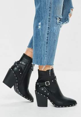 Missguided Black Faux Leather Western Studded Ankle Boots