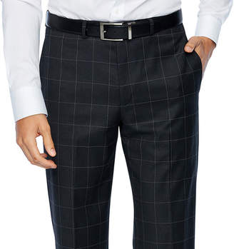 COLLECTION Collection by Michael Strahan Gray Windowpane Slim Fit Stretch Suit Pants