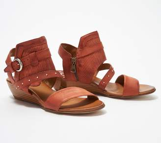 Miz Mooz Leather Buckle Demi-Wedge Sandals - Farley