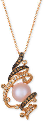 LeVian Le Vian Chocolatier Strawberry Pearl (9-1/2mm) & Diamond (3/8 ct. t.w.) Pendant Necklace in 14k Rose Gold