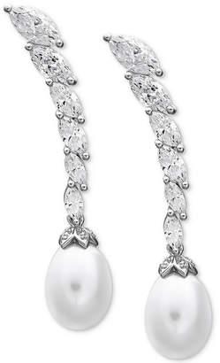 Arabella Cultured Freshwater Pearl (8-1/2 ct. t.w.) & Swarovski Zirconia Drop Earrings in Sterling Silver