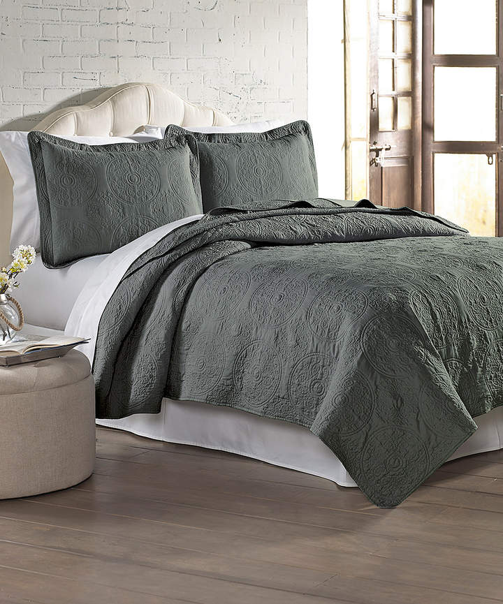 Charcoal Embroidered Quilt Set
