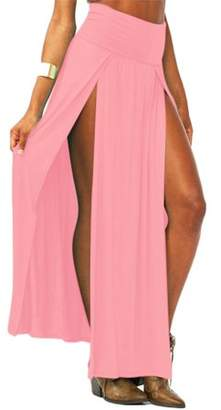 Dodomore Sexy High Waisted Double Slit Split Skirt Open Leg Long Maxi Skirt Dress