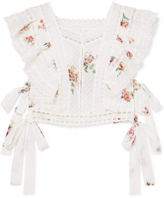 Zimmermann Heathers Satin And Lace-trimmed Ruffled Floral-print Cotton-voile Top - White