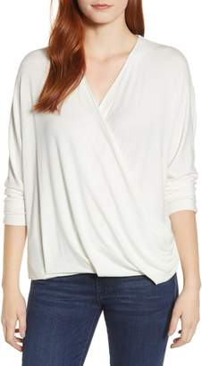 Press Drape Front Dolman Sleeve Top