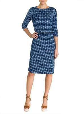 Olsen Belted Jacquard Ponti Sheath Dress