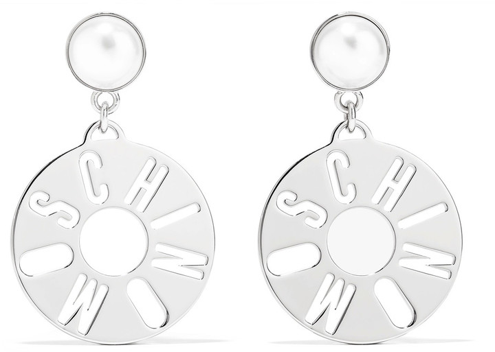 Moschino Moschino Silver-tone faux pearl earrings