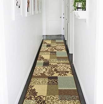 Ottomanson Ottohome Collection Contemporary Damask Design Non-Skid Rubber Backing Hallway Runner Rug