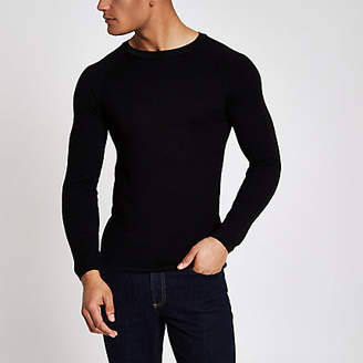 River Island Black muscle fit crew neck sweater