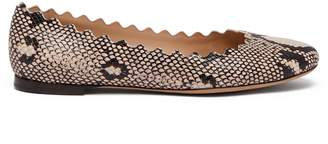 Chloé Lauren scallop-edged snake-effect leather flats