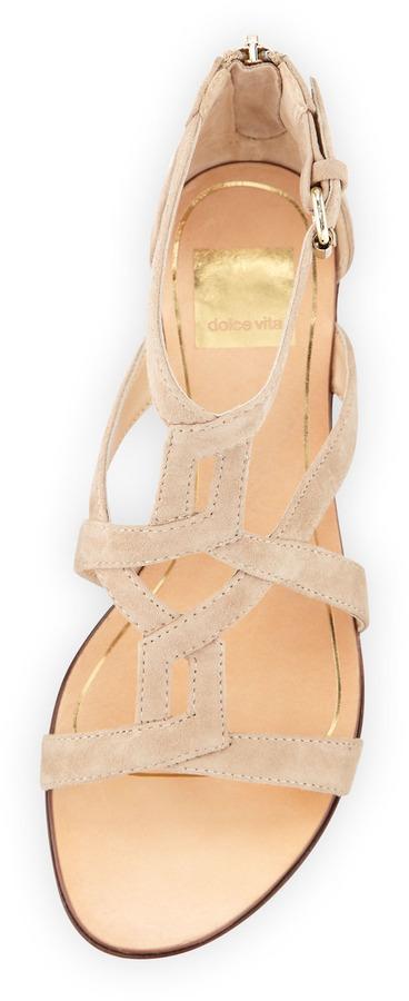 Dolce Vita Ida Cutout Covered-Back Flat Sandal, Nude