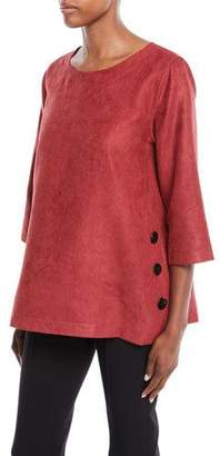 Caroline Rose Modern Sueded Fabric Tunic with Button Detail, Plus Size